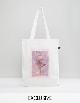 Lazy Oaf Exclusive Rose Print Tote Bag