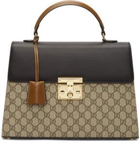 Gucci Brown GG Supreme Padlock Bag