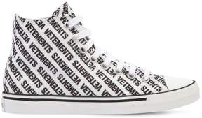 Vetements 20mm Logo Print Canvas High Top Sneakers