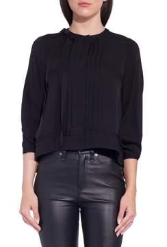Dice Kayek Long Sleeve Front Pleat Blouse Black