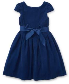Ralph Lauren Corduroy Fit-And-Flare Dress Holiday Navy 3T