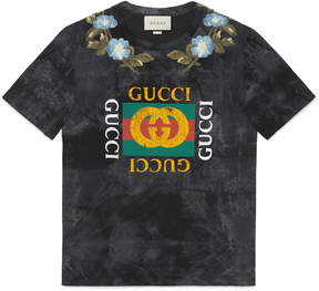 Cotton tie-dye T-shirt with Gucci logo