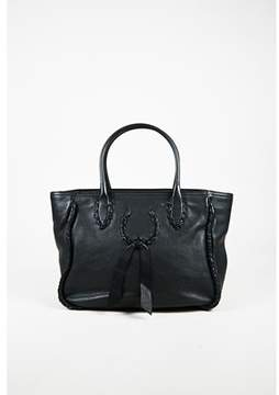 Nina Ricci Pre-owned Black Pebbled Leather Woven Trim Tote Bag.