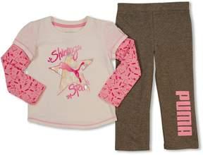 Puma Toddler Girl Mock-Layer Graphic Tee & Pants Set