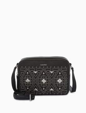 Calvin Klein pebble leather studded dual zip crossbody bag