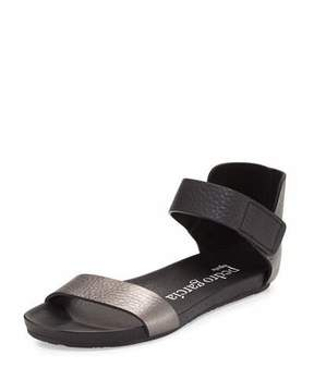 Pedro Garcia Juncal Metallic Leather Sandal, Charcoal