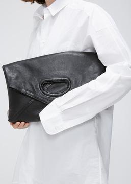 Dries Van Noten black fold over clutch