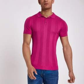 River Island Mens Bright pink ribbed muscle fit polo shirt