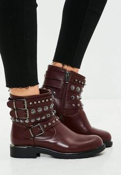 Missguided Burgundy Multi Strap Ankle Boots