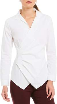 Alex Marie Winifred Side Ruched Collared Blouse