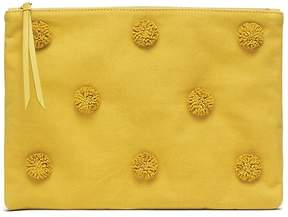 Banana Republic Cotton Canvas Pom Pom Large Zip Pouch