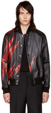 Saint Laurent Black Lambskin Flame Bomber Jacket