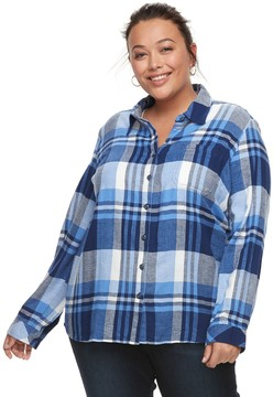 Dickies Plus Size Plaid Button-Down Shirt