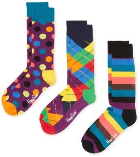 Happy Socks Men's Argyle & Dots Socks (3 PK) - Size 10-13