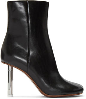 Vetements Black Leather Ankle Boots