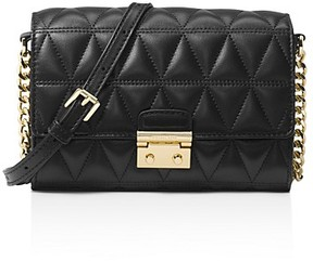 MICHAEL Michael Kors Ruby Medium Quilted Leather Clutch - BLACK/GOLD - STYLE