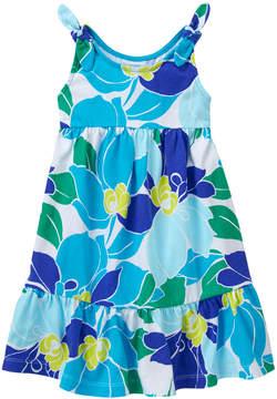 Gymboree Aqua Floral Ruffle-Hem Sleeveless A-Line Dress - Infant