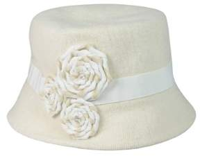 Nine West Women's Knit Micro Brim Rosette Hat (OS, Ivory)
