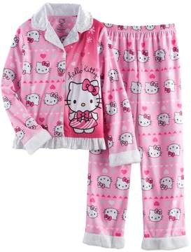 Hello Kitty Girls 4-12 Button-Front Top & Bottoms Pajama Set