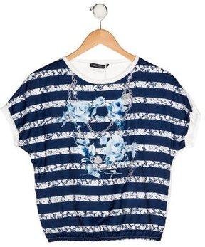 Miss Blumarine Girls' Embellished Striped Top w/ Tags