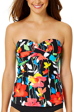 Anne Cole Black & Coral Floral Shirred Sweetheart Tankini Top
