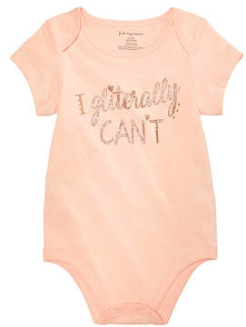 First Impressions Gliterally Can't Cotton Bodysuit, Baby Girls, Created for Macy's
