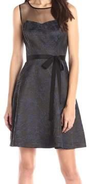 Jessica Simpson Women's Belted Sweetheart Brocade Dress (2, Navy/Black)