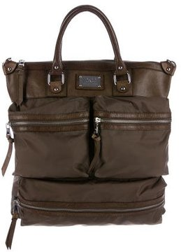 Dolce & Gabbana Leather-Trimmed Satchel - BROWN - STYLE