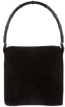 Gucci Suede Bamboo Shoulder Bag - BLACK - STYLE
