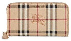 Burberry Elmore Haymarket Check Coated Canvas & Leather Zip Around Wallet - Beige - BEIGE - STYLE