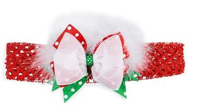 Starting Out Baby Girls Christmas Dotted Feather Bow