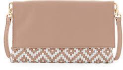 Neiman Marcus Weave Flap Clutch Bag