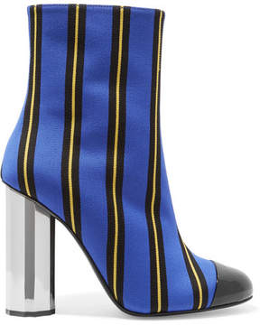 Marco De Vincenzo Patent Leather-trimmed Striped Canvas Ankle Boots - Blue