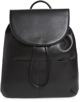 Bp. Drawstring Faux Leather Backpack - Black