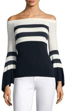 Bailey 44 Off-The-Shoulder Bell-Sleeve Striped Top