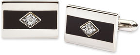Asstd National Brand Black Enamel and Diamond Cuff Links