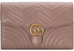 Gucci GG Marmont Chevron Quilted Leather Flap Clutch Bag - BLACK - STYLE