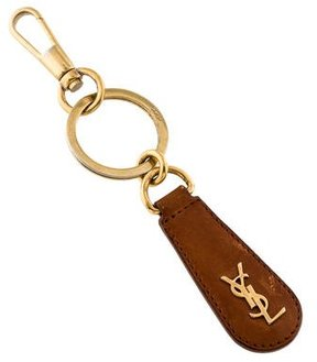 Saint Laurent Leather Logo-Accented Keychain
