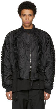 Kokon To Zai Black Lace-Up Bomber Jacket