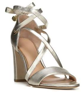 Diane von Furstenberg Calabar Lace-Up Metallic Leather Block-Heel Sandals