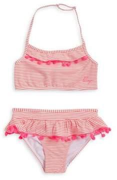 Betsey Johnson Girl's Two-Piece Pom-Pom Striped Bikini