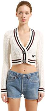 N°21 Wool & Mohair Cable Knit Crop Cardigan