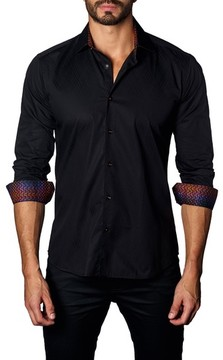 Jared Lang Men's Trim Fit Diamond Jacquard Sport Shirt