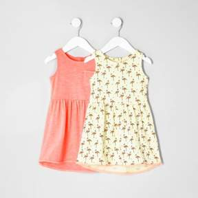 River Island Mini girls flamingo high-low dress two pack