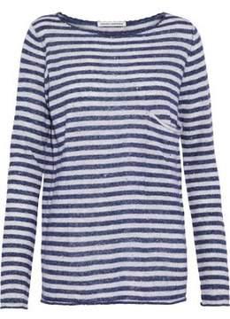 Autumn Cashmere Distressed Striped Cashmere And Silk-Blend Top