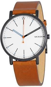 Skagen Signature Diamond White Dial Brown Leather Men's Watch