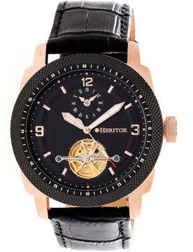 Heritor Helmsley Mens Black Strap Watch-Herhr5009
