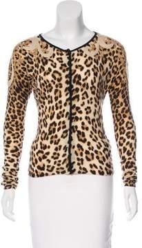 Blumarine Embroidered Leopard Print Cardigan