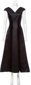 Escada Velvet-Trimmed Silk Dress