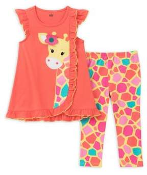 Kids Headquarters Baby Girl's Two-Piece Giraffe Tunic and Capri Pants Set